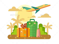 Summer Vacation Travel Flat Illustration (Travel) (hypesol) Tags: trip travel sunset summer sun holiday abstract tourism illustration clouds plane bag airplane design flying tour flat graphic air transport flight icon luggage journey concept passport suitcase palma vector booking