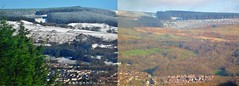 Two January Days (RosieBartolozzi) Tags: uk greatbritain winter snow mountains weather southwales wales diptych unitedkingdom britain january panorma mountainous cwmaman rhonddacynontaff aberdare welshvalleys
