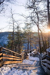 to the overlook (almostsummersky) Tags: wood bridge trees winter sunset sun snow ice stairs forest us wooden unitedstates path horizon trail westvirginia gorge descend railing overlook newrivergorgebridge fayetteville newrivergorge