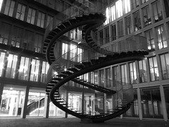 Endless Stairs (whitesepulchre) Tags: nightphotography blackandwhite art monochrome night stairs canon munich mnchen office kunst treppe staircase schwarzweiss bnw endless longexposuretime blancetnoir endlos sx50 canonpowershotsx50