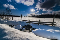 Fresh Snow (Beverley Lu) Tags: blue trees winter sun white snow cold water clouds canon fence season landscape scenery afternoon shadows scenic newbrunswick serene rays refections 70d 1018mm canon70d canon1018mmf4556isstmlens