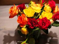 ein Blumenstrau zu Wochenbeginn (<Leonie di Vienna>) Tags: flowers red orange white green rot yellow start happy colours blumen gelb week grn farben weis wochenbeginn