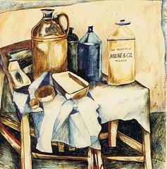 stoneware 1971 Dot thompson (deadbudgie) Tags: school art 1971 drawing d pots adelaide sa thompson stoneware