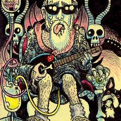Recovery Rock (Tom Bagley) Tags: selfportrait canada calgary ink skull weird cartoon eerie creepy fantasy alberta horror frenchbulldog macabre hernia catheter postitnote colouredpencils tombagley forbiddendimension prunejuice ivstand jacksonphibes elephantguitar
