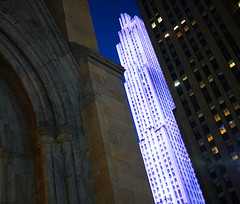 A lot of angles and a few curves. (patrick.tafani) Tags: new york city building saint st rock 30 evening cathedral angles patrick center cathdrale ciel rockefeller avenue soir 5th 30rock gratte