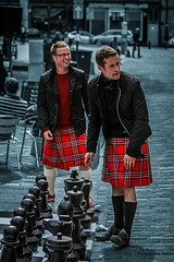 Kilted Chess Players in Grassmarket, Edinburgh (FotoFling Scotland) Tags: scotland edinburgh kilt chess leatherjacket grassmarket tartan kilted meninkilts