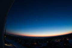 Sunset from architects boulevard (DmitryYushkevich) Tags: sunset sky moon nature canon russia naturallight ulyanovsk zenitar16 fisheeye canon6d