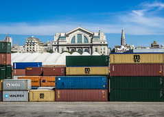 A contemporary cornucopia (wamcclung) Tags: city colors skyline port uruguay dock goods montevideo containers