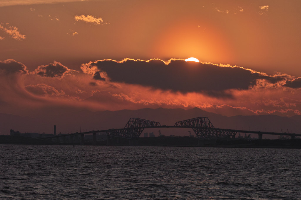 Sun Set and Bridge, Bridge and Fuji