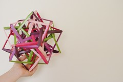 """Stratosphere"" Five Interlocking Dodecahedrically Augmented Tetrahedrically Distorted Hexahedra (Byriah Loper) (Byriah Loper) Tags: paper compound origami complex polygon paperfolding dodecahedron wireframe polyhedron origamimodular pentagonal byriahloper wovensolid"