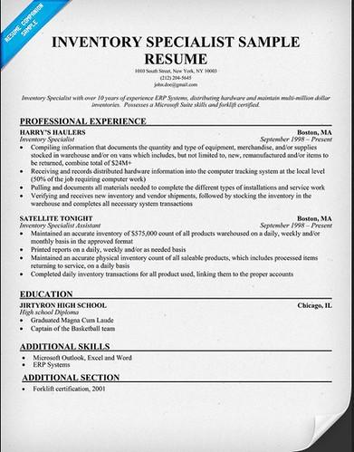 inventory control specialist resume