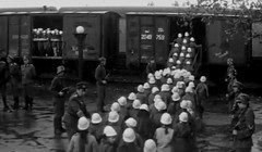 Free trip (theirhistory) Tags: girls boys hat station kids children shoes war europe wwii railway trains ww2 soldiers raincoats germans