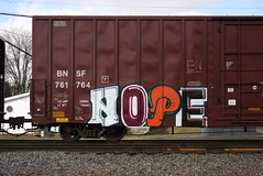 Nope (quiet-silence) Tags: railroad art train graffiti railcar boxcar graff freight bnsf nope fr8 bnsf761764
