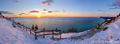 Empire Bluff ... sunset soloist (Ken Scott) Tags: winter sunset panorama usa snow fence march michigan dune lakemichigan greatlakes trail vista boardwalk freshwater voted leelanau 2016 45thparallel empirebluff fhdr southbarlake sbdnl sleepingbeardunenationallakeshore mostbeautifulplaceinamerica