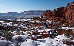 White Robed Mudstone (courtney_meier) Tags: winter snow redrock snowscape fishertowers redrockcountry mudstone professorvalley