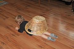 """I am a SNAIL!"" (KaseyEriksen) Tags: boy silly kids children kid funny child play basket snail indoor grandson"