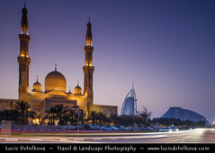 United Arab Emirates - UAE - Dubai - Jumeirah Mosque at Dusk - Twilight - Blue Hour - Night ( Lucie Debelkova / www.luciedebelkova.com) Tags: world travel light color building beach horizontal architecture modern night outdoors photography hotel evening al dubai exterior view image dusk contemporary united uae scenic middleeast large landmark structure illuminated east emirates international arab burjalarab arabia vista innovation middle eastern luxury development unitedarabemirates built gcc locations jumeirah burj prosperity thegulf destinations magiclight horizontals arabianpeninsula luciedebelkova wwwluciedebelkovacom