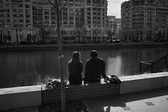 Sittin' on the dock of the bay, Watchin' the tide roll away... (mihail.vitza) Tags: street couple none candid relaxing streetphotography couples chillin romania riverbank bucharest bucuresti streettog