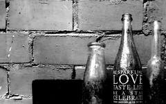 Message on a Bottle ( Rosemarie Christina ) Tags: blackandwhite bw monochrome lines wall blackwhite bottle bottles zwartwit stormhoek ros zw blackwhitephotos linesandshapes