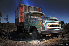 old-truck-in-cache-creek (Russ Thorne Art Photography) Tags: old abandoned night long exposure desert mojave vehicle
