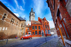 Colorful Street in Mons, Belgium (` Toshio ') Tags: street city people building car architecture europe european cityscape belgium belfry mons europeanunion toshio xe2 fujixe2 belfryofmons