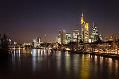 Night Lights Frankfurt (Stefan Baudach) Tags: longexposure sky water night skyscraper lights am wasser hessen frankfurt main bank mainhatten lichter wolkenkratzer ffm langzeitbelichtung toning banken hochhuser bankenstadt finanzmetropole