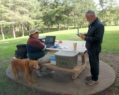 003 Rich And Marvin Set Up Shop (saschmitz_earthlink_net) Tags: california orienteering 2016 losangelescounty rowlandheights schabarumregionalpark laoc losangelesorienteeringclub