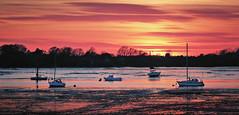 Blazing Creek (Langstone Joe) Tags: sunset creek hampshire portsmouth redsky lowtide yachts portchestercastle portsolent portsouthharbour