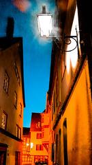 Narrow (canaanite98) Tags: street blue light sky building yellow architecture corner buildings germany deutschland an stadt der narrow lahn limburg germans alte