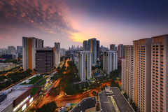 Peer (night86mare) Tags: city morning light urban panorama sunrise buildings singapore glow cityscape skyscrapers fujifilm hdb blend bahru tiong xt1
