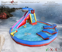 "Heart Homes ""Shark island of fun"" for babies, kids & adults! (aphroditeshopsl) Tags: life family summer baby beach pool kids children fun island kid spring child furniture floating sl second float prim espejito toddle rekka whiteberry zooby toddleedoo"