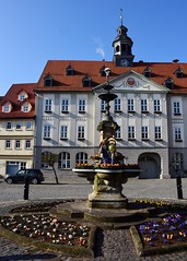 Easter-well at the market-place of Themar (:Linda:) Tags: germany easter town bluesky thuringia well easteregg themar osterbrunnen easterwell risalit