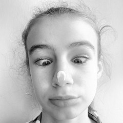 Irene con panna (Lumase) Tags: portrait bw funnyface square kid funny daughter irene