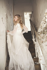 The Forgotten Bride (KelsieTaylor) Tags: portrait woman abandoned girl stairs bride paint lace ghost eerie staircase ethereal blonde gown weddingdress bridal 1920sweddingdress