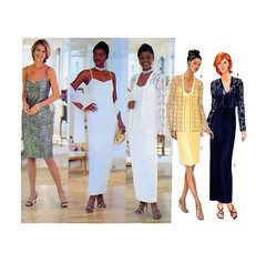 Butterick 6009 Evening Gown Dress Pattern (findcraftypatterns) Tags: two scarf evening dress lace or w semi size cocktail jacket slip matching gown length gala runway redcarpet motherofthebride bolero sheath fitted sewingpattern butterick 6009 formalevent 182022 121416