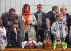 Waiting For a Blessing (Roblawol) Tags: people food holiday church easter religious europe candles candid faith ukraine baskets orthodox faithful orthodoxeaster zhytomir zhytomyr