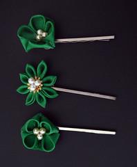Bold Green Kanzashi Hair Grip. (Bright Wish Kanzashi) Tags: original flower handmade clip hairpin kanzashi tsumamizaiku