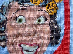 """Old Maid """"detail view"""" (Peggy Dembicer) Tags: beads mixedmedia unique surfacedesign nostalgia popart stitching fiberart weaving beadwork politicalart oldmaid beadweaving dembicer feministart connecticutartist peggycorallo"""