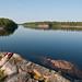 Red kayak on Saimaa lake