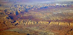 2016_02_10_sba-lax-ewr_502 (dsearls) Tags: red orange snow mountains utah flying desert wind aviation united aerial erosion plains sanrafaelswell ual unitedairlines windowseat windowshot 20160210 sbalaxewr