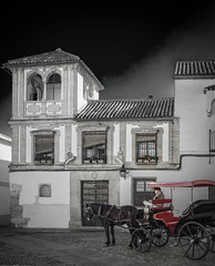 Waiting (Colormaniac too) Tags: street city travel urban horse building monochrome architecture outside blackwhite spain cityscape exterior carriage monotone cordoba driver andalusia