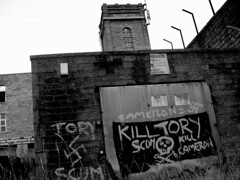Forest  Mill,  Bacup. (Lawrence Peregrine-Trousers) Tags: mill forest graffiti media kill political nazi swastika social lancashire cameron scum tory 2015 bacup
