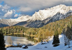 Lautersee , Germany (adr.vesa) Tags: trees sky panorama lake snow nature water berg forest germany bayern bavaria mittenwald lautersee