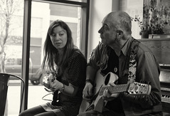 Cafe Blanca Open Mic (Sherlock77 (James)) Tags: people musician woman man calgary guitar bassguitar openmic