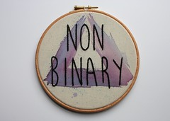 hand painted and embroidered (ShinyFabulousDarling) Tags: handmade embroidery sewing stitching queer stitched embroidered handstitched sewn handsewing embroideryhoop handembroidery embroideredart nonbinary