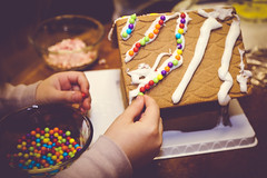 Gingerbread House (odonata98) Tags: christmas house holiday kids children ginger cookie child candy gingerbread decorating gingerbreadhouse activity decorate matte childrenactivities
