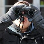 A student in the tweetspeak cluster using his binoculars