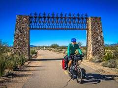 Andrew cycling on the Julia Wash Greenway near Tucson, AZ.