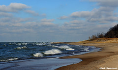 Water and Sand (mswan777) Tags: sky lake seascape beach nature water clouds outdoors sand nikon waves wind michigan great shoreline lakes scenic 1855mm nikkor whitecaps d5100