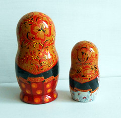 Nesting dolls (matryoshka) in Russian style Khokhloma in handmade. (Artworkshop1) Tags: handmade babushka matryoshka khokhloma